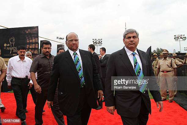 Sharad Pawar ICC President with Shashank Manohar BCCI President during the ICC Annual Awards at the Red Carpet on October 6 2010 in Bangalore India
