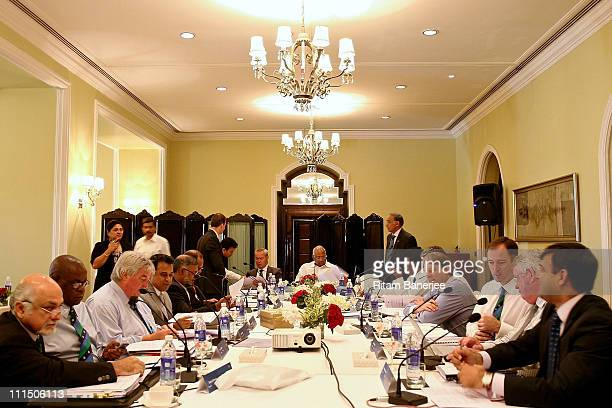 Sharad Pawar President of the ICC Executive Board chairs an ICC Board Meeting at the Taj Palace Hotel on April 4 2011 in Mumbai India