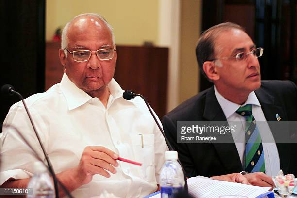 Sharad Pawar President of the ICC Executive Board with Haroon Lorgat Chief Executive of the ICC Executive Board attend the ICC Board meeting at the...