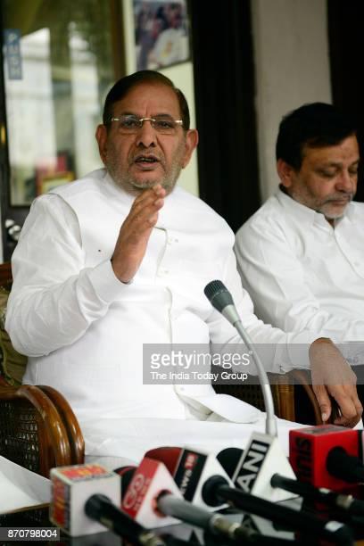 Sharad Yadav addresses a press conference at Tughlak Road in New Delhi