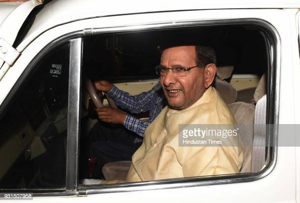 Sharad Yadav arrives at Sonia Gandhi's residence for the dinner on March 13 2018 in New Delhi India Leaders of 20 opposition parties tonight got...