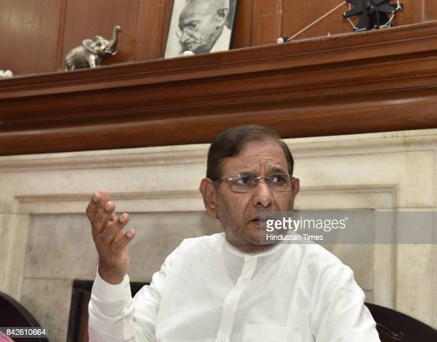 Sharad Yadav during his press conference at his residence on September 4 2017 in New Delhi India