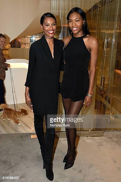 Sharam Diniz and Afiya Bennett attend as Barneys New York celebrates its new downtown flagship in New York City on March 17 2016 in New York City