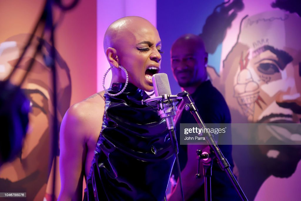 sharaya j performs in the booth during the bet hip hop awards 2018