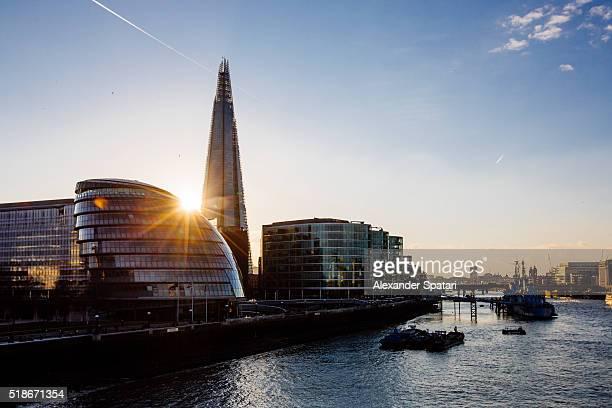 Shard skyscraper and London City Hall at sunset, United Kingdom