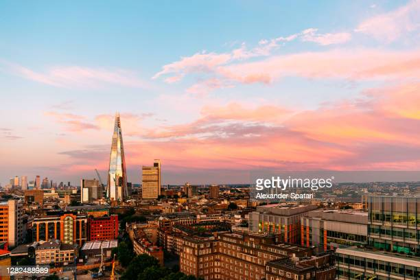 shard skyscraper and london skyline at sunset, high angle view, london, uk - hotel stock pictures, royalty-free photos & images