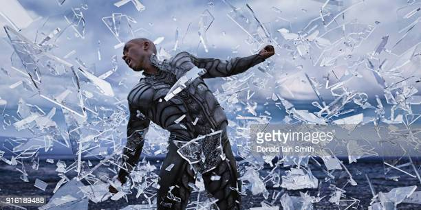 shards of glass surrounding futuristic man - conquering adversity stock pictures, royalty-free photos & images