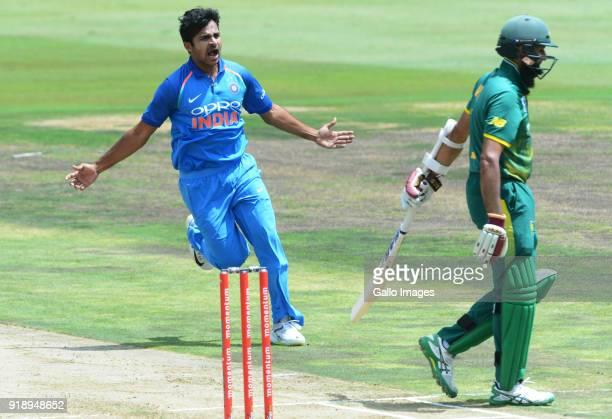 Shardul Thakur of India celebrates the wicket of Hashim Amla of the ProteasShardul Thakur of India celebrates the wicket of Hashim Amla of the...