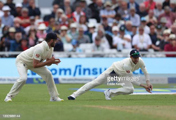 Shardul Thakur of India is caught in the slips by Joe Root of England off the bowling of James Anderson during day three of the First LV= Insurance...