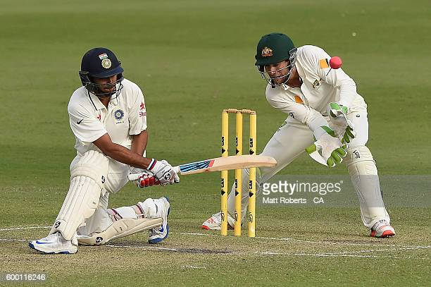 Sharduz Thakur of India A bats during the Cricket Australia Winter Series match between Australia A and India A at Allan Border Field on September 8...