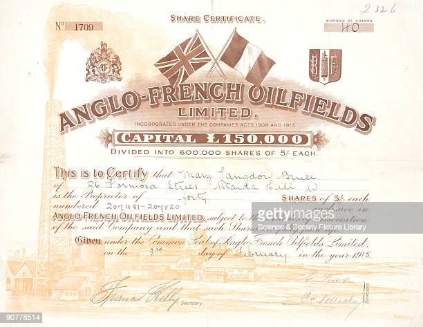 Share certificate for forty shares of the Anglo French Oilfield Ltd made out to Mary Langdon Bruce The top of the certificiate features the flags of...
