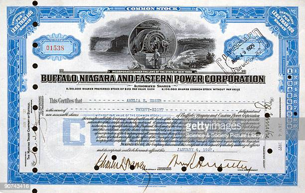 Share certificate issued on 4th January 1927 on behalf of the Buffalo Niagara and Eastern Power Corporation The certificate is for 28 shares issued...