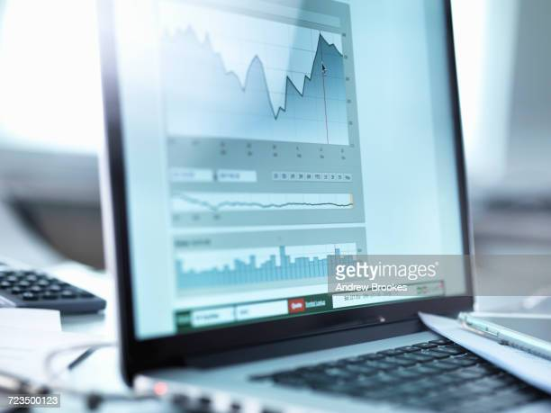 share price data from investors portfolio on a laptop computer screen - film  oder fernsehvorführung stock-fotos und bilder