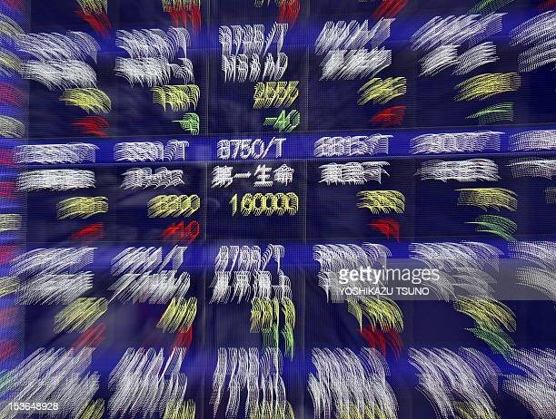 Share price of Japan's Daiichi Life Insurance flashes its price of 16000 yen on the electric quotation board in Tokyo on April 1 2010 Shares in...