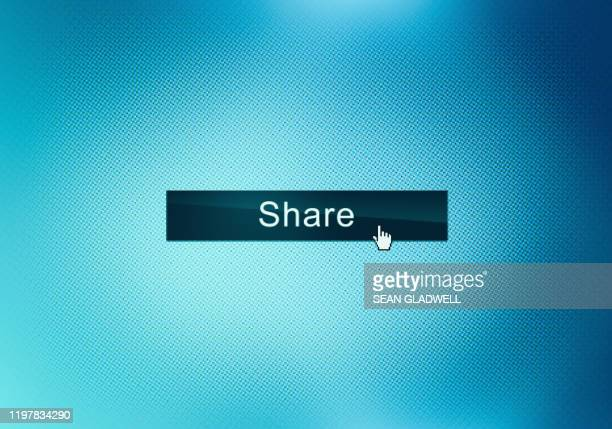 share web page button on computer screen - social media stock pictures, royalty-free photos & images