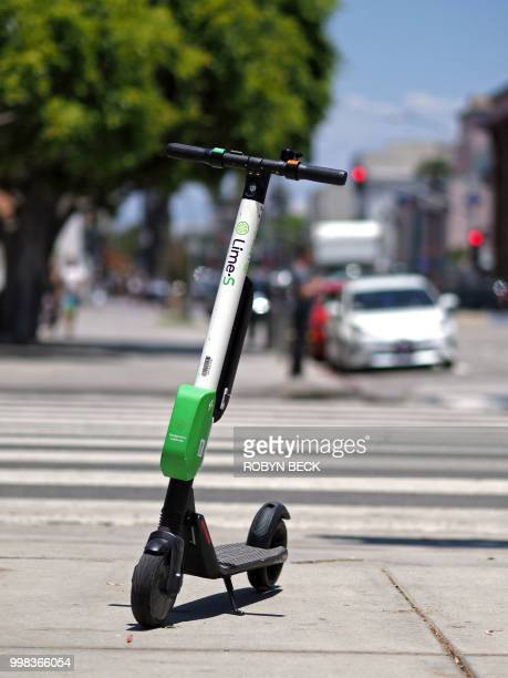 A shared electric scooter is seen in Santa Monica California on July 13 2018 Cities across the US are grappling with the growing trend of electric...