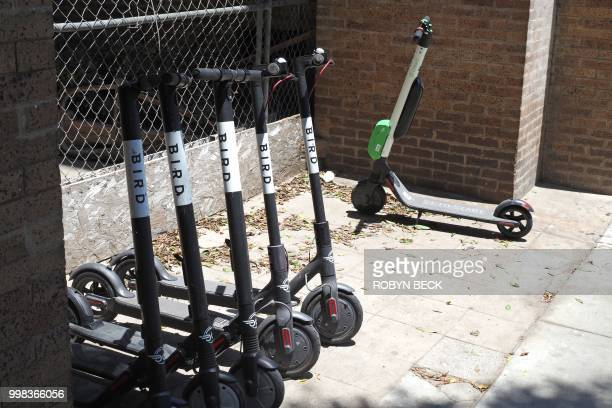 Shared electric scooters are parked on a street in Santa Monica California on July 13 2018 Cities across the US are grappling with the growing trend...
