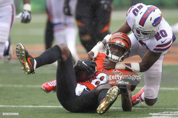 Shareece Wright of the Buffalo Bills tackles A.J. Green of the Cincinnati Bengals during the second quarter at Paul Brown Stadium on October 8, 2017...