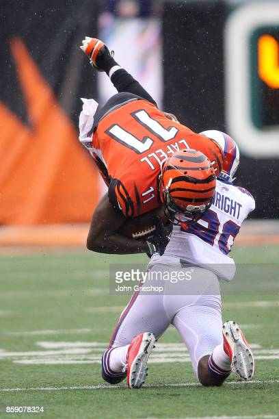 Shareece Wright of the Buffalo Bills tackles Brandon LaFell of the Cincinnati Bengals during the third quarter at Paul Brown Stadium on October 8,...