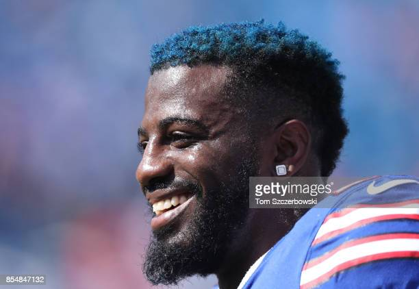 Shareece Wright of the Buffalo Bills warms up before the start of NFL game action against the Denver Broncos at New Era Field on September 24, 2017...