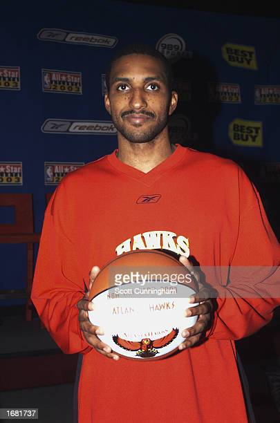 Shareef AbdurRahim of the Atlanta Hawks poses during the NBA AllStar Game ballot press conference at CNN Center on November 14 2002 in Atlanta...