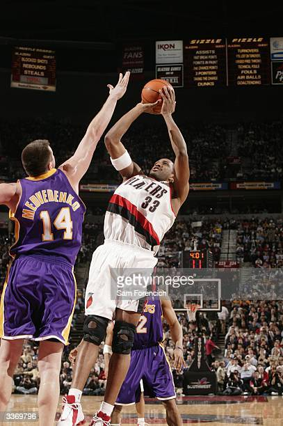 Shareef Abdur-Rahim of the Portland Trail Blazers takes a fading jumper during a game against the Los Angeles Lakers on April 14, 2004 at the Rose...