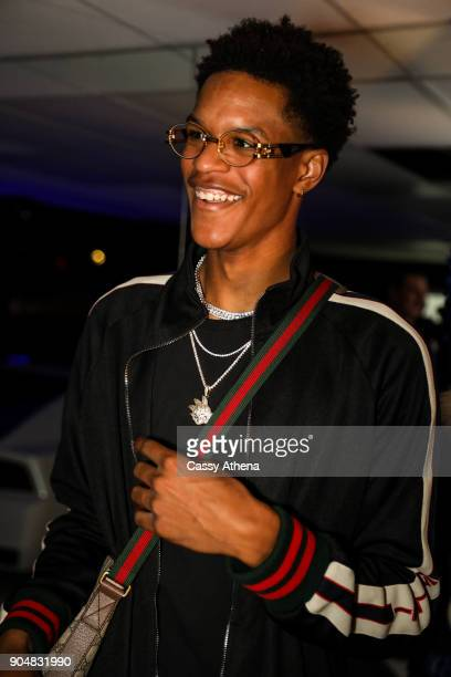 Shareef O'Neal celebrates 18th birthday party at West Coast Customs on January 13 2018 in Burbank California