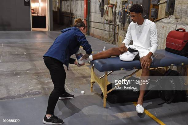 Shareef O'Neal gets taped up to play basketball during the 2018 Brand Jordan NBA AllStar Uniforms AllStar Rosters Unveiling show on January 25 2018...