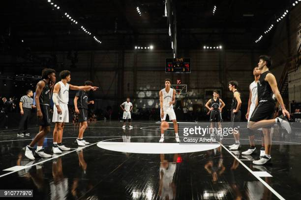 Shareef O'Neal of Crossroads High school shoots a freethrow against Beverly Hills High school at the Jordan Brand Future of Flight Showcase on...