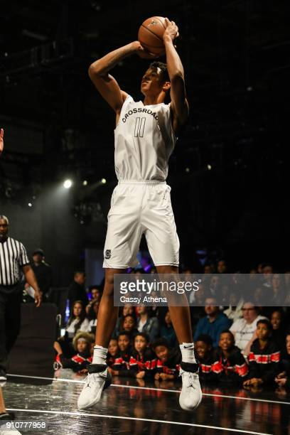 Shareef O'Neal of Crossroads High school shoots a jump shoot against Beverly Hills High school at the Jordan Brand Future of Flight Showcase on...