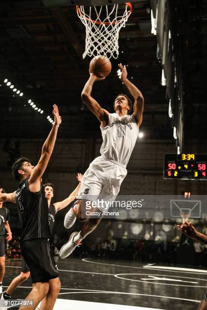 Shareef O'Neal of Crossroads High school shoots a jumpshot against Beverly Hills High school at the Jordan Brand Future of Flight Showcase on January...