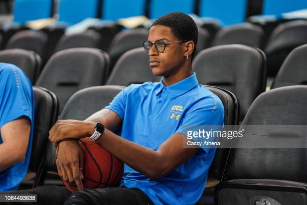 Shareef O'Neal of the UCLA Bruins sits court side during warmups before the Fort Wayne Mastodons game at Pauley Pavilion on November 6 2018 in Los...