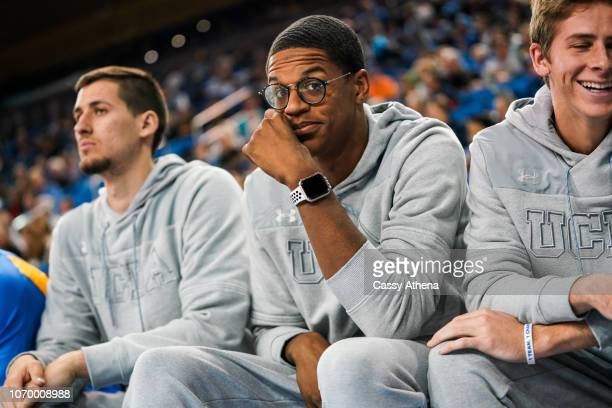 Shareef O'Neal of the UCLA Bruins smiles from the sidelines during a game against the Presbyterian Blue Hose at Pauley Pavilion on November 19 2018...
