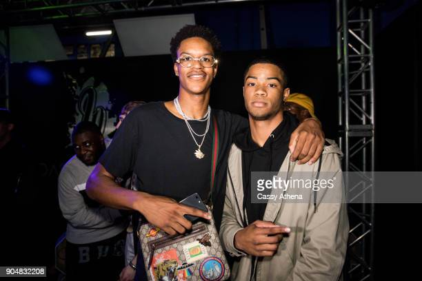 Shareef O'Neal poses with Cassius Stanley as they celebrate Shareef's 18th birthday party at West Coast Customs on January 13 2018 in Burbank...