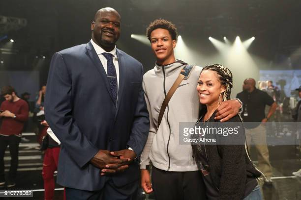 Shareef O'Neal poses with his parents Shaquille O'Neal and Shaunie O'Neal at the Jordan Brand Future of Flight Showcase on January 25 2018 in Studio...