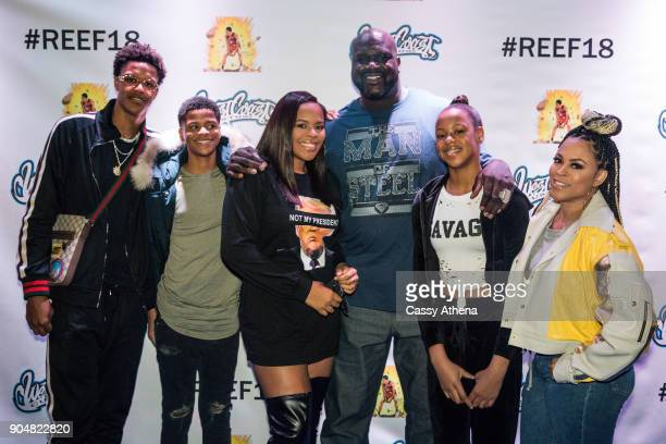 Shareef O'Neal poses with Shaquille O'Neal and Shaunie O'Neal as he celebrates 18th birthday party at West Coast Customs on January 13 2018 in...