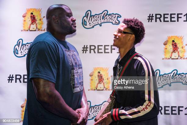 Shareef O'Neal poses with Shaquille O'Neal as he celebrates 18th birthday party at West Coast Customs on January 13 2018 in Burbank California