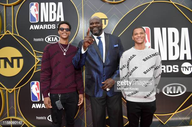 Shareef O'Neal Shaquille O'Neal and Shaqir O'Neal attend the 2019 NBA Awards presented by Kia on TNT at Barker Hangar on June 24 2019 in Santa Monica...