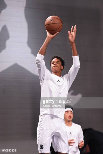Shareef O'Neal shoots the ball during the 2018 Brand Jordan NBA AllStar Uniforms AllStar Rosters Unveiling show on January 25 2018 at CBS Studios in...