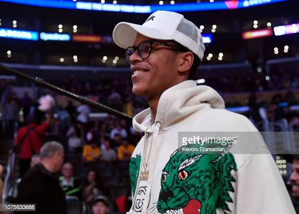 Shareef O'Neal son of former NBA basketball player with the Los Angeles Lakers Shaquille O'Neal attends basketball game between the Los Angeles...