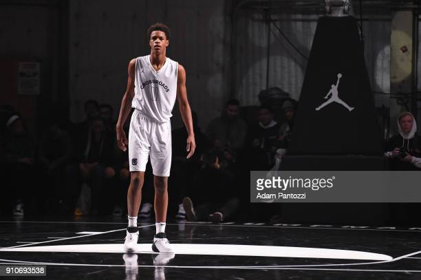 Shareef O'Neal stands on the court during the 2018 Brand Jordan NBA AllStar Uniforms AllStar Rosters Unveiling show on January 25 2018 at CBS Studios...