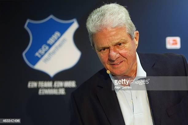 Shareholder and future club owner Dietmar Hopp attends a press conference of 1899 Hoffenheim at RheinNeckarArena on February 13 2015 in Sinsheim...