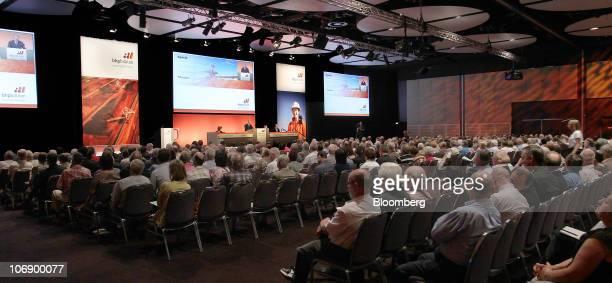 Shareholders attend the BHP Billiton Ltd annual general meeting in Perth Australia on Tuesday Nov 16 2010 BHP Billiton Ltd Chief Executive Officer...