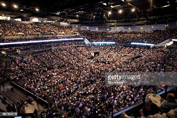 Shareholders gather prior to the start of the Berkshire Hathaway annual meeting in Omaha Nebraska US on Saturday May 1 2010 Berkshire Hathaway Chief...
