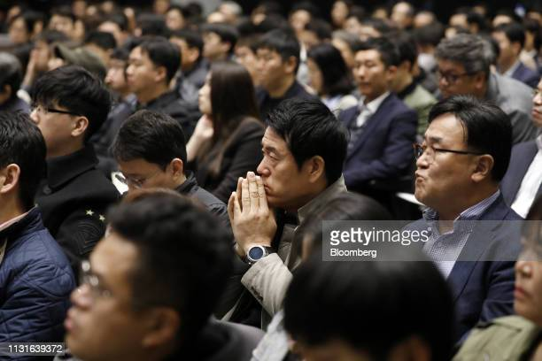Shareholders of Samsung Electronics Co attend the annual general meeting at the company's Seocho office building in Seoul South Korea March 20 2019...