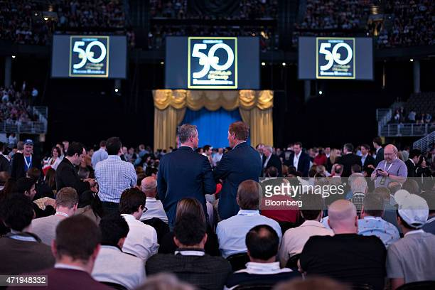 Shareholders take their seats prior to the Berkshire Hathaway Inc annual shareholders meeting in Omaha Nebraska US on Saturday May 2 2015 More than...