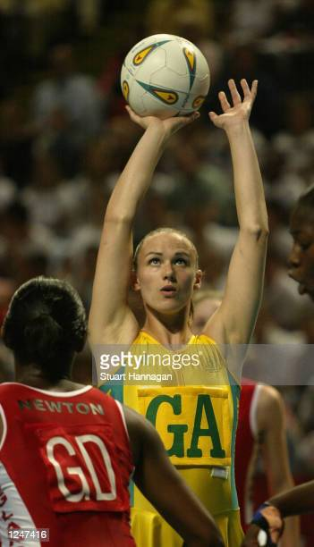 Sharelle McMahon of Australia shoots for goal during the match between England and Australia at the MEN stadium during the 2002 Commonwealth Games in...