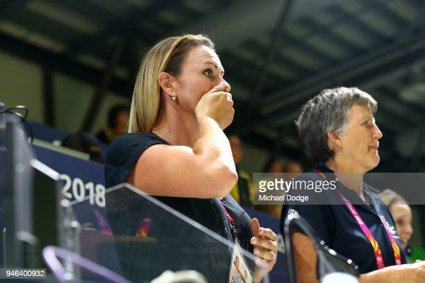 Sharelle McMahon shows her emotion following the Netball Gold Medal Match on day 11 of the Gold Coast 2018 Commonwealth Games at Coomera Indoor...