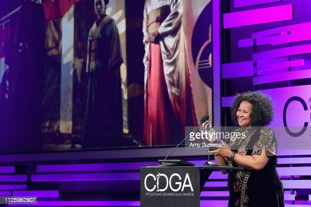 Sharen Davis accepts the Excellence in SciFi / Fantasy Television award for 'Westworld' onstage during The 21st CDGA at The Beverly Hilton Hotel on...