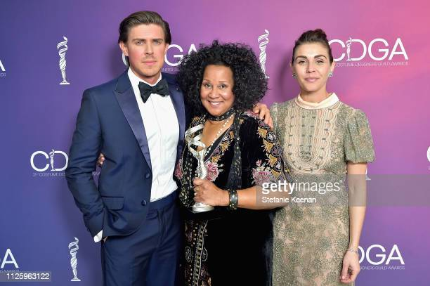 Sharen Davis winner of the Excellence in SciFi / Fantasy Television award for 'Westworld' poses with Chris Lowell and Lili Mirojnick during The 21st...